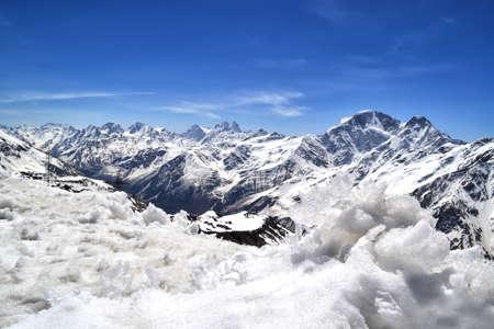 snowcapped: snow-capped mountains, the main Caucasian ridge