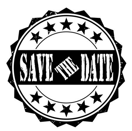 delay: Grunge rubber stamp with text save the date, vector illustration