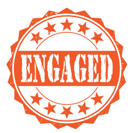 engaged: Grunge rubber stamp with text engaged, vector illustration