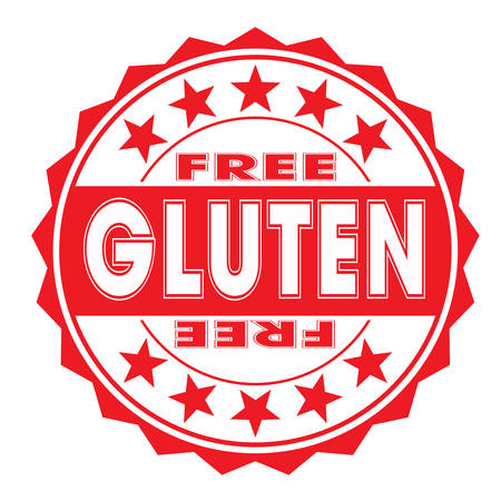 accepted label: grunge rubber stamp with text free gluten on white, vector illustration
