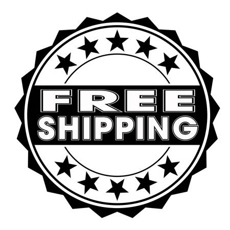 accepted label: grunge rubber stamp with text free shipping on white, vector illustration