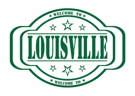 debtor: grunge stamp welcome to louisville on white, vector illustration