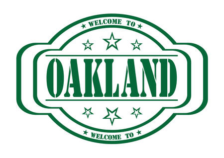 creditor: grunge stamp welcome to Oakland city on white, vector illustration