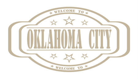 debtor: grunge stamp welcome to Oklahoma city on white, vector illustration