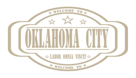 oklahoma city: grunge stamp welcome to Oklahoma city on white, vector illustration