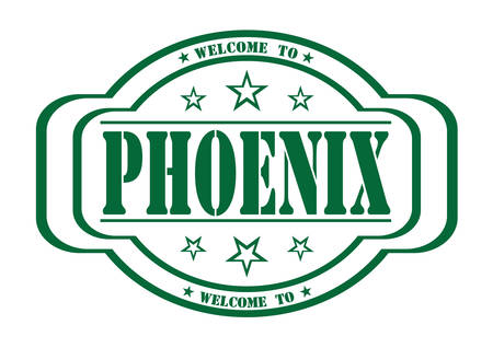 debtor: grunge stamp welcome to Phoenix on white, vector illustration