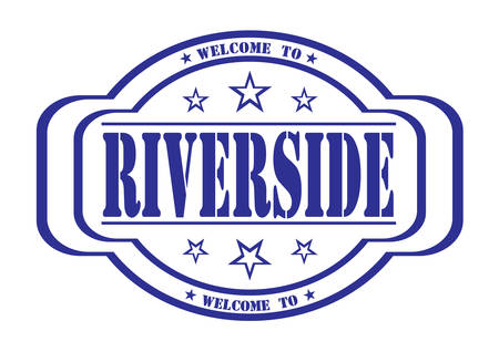 riverside: grunge stamp welcome to Riverside on white, vector illustration