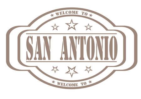 debtor: grunge stamp welcome to San Antonio on white, vector illustration