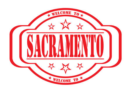 debtor: grunge stamp welcome to Sacramento on white, vector illustration Illustration