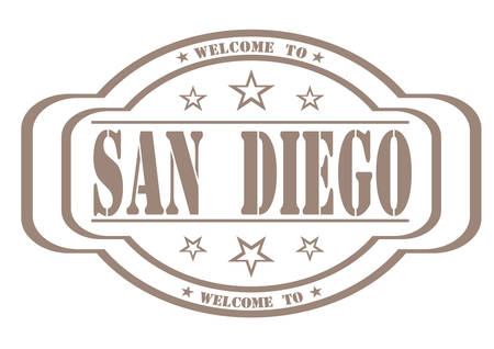 debtor: grunge stamp welcome to San Diego on white, vector illustration Illustration
