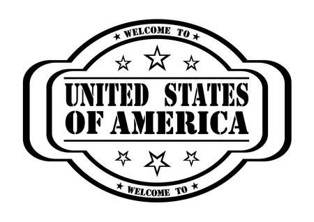 debtor: grunge stamp welcome to United States of America on white, vector illustration