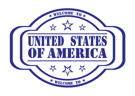 delay: grunge stamp welcome to United States of America on white, vector illustration
