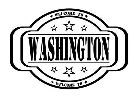 delay: grunge stamp welcome to washington on white, vector illustration Illustration