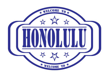debtor: grunge stamp welcome to honolulu on white, vector illustration