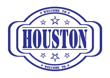 debtor: grunge stamp welcome to houston on white, vector illustration Illustration