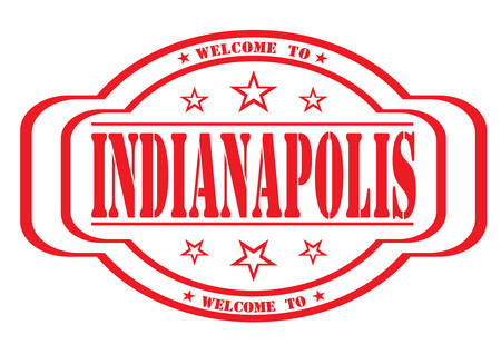 debtor: grunge stamp welcome to indianapolis on white, vector illustration Illustration