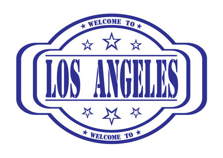debtor: grunge stamp welcome to los angeles on white, vector illustration