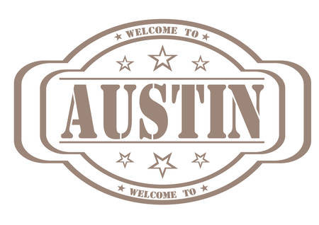 debtor: grunge stamp welcome to austin on white, vector illustration