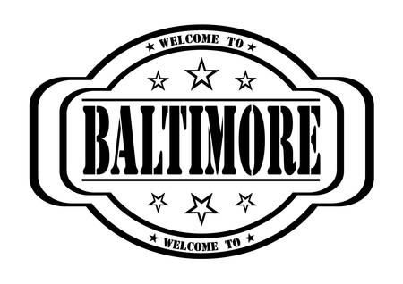debtor: grunge stamp welcome to baltimore on white, vector illustration Illustration