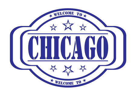 debtor: grunge stamp welcome to chicago on white, vector illustration Illustration