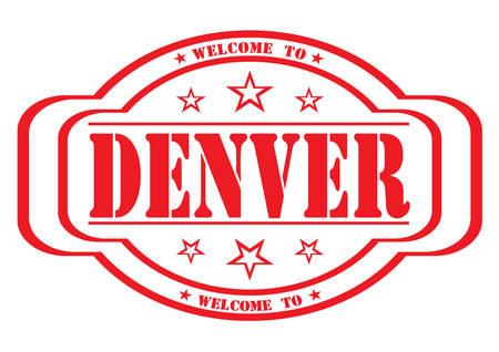 delay: grunge stamp welcome to denver on white, vector illustration