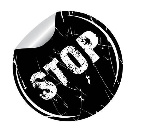 debtor: grunge sticker stop on white, vector illustration