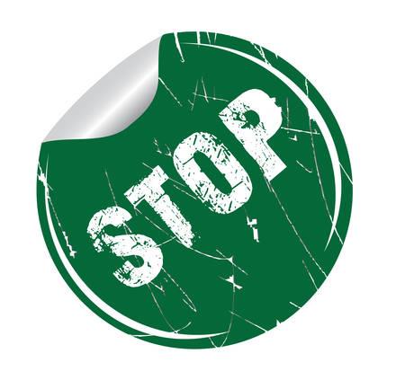 delay: grunge sticker stop on white, vector illustration