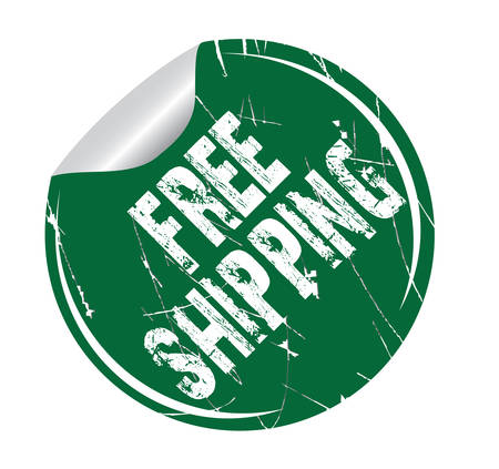 debtor: grunge sticker free shipping on white, vector illustration