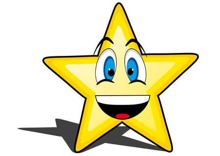 carita feliz caricatura: estrella brillante de dibujos animados con la cara sonriente, emoticon