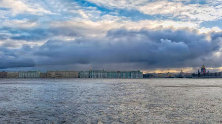 neva: Saint-Petersburg and river Neva, dark dramatic cityscape