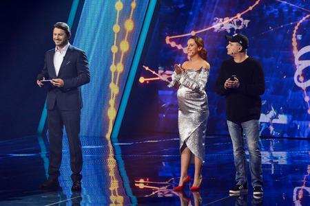 KYIV, UKRAINE - FEBRUARY 10, 2018: Jamala (Ð¡) - member of the jury of the national selection Eurovision-2018 from Ukraine