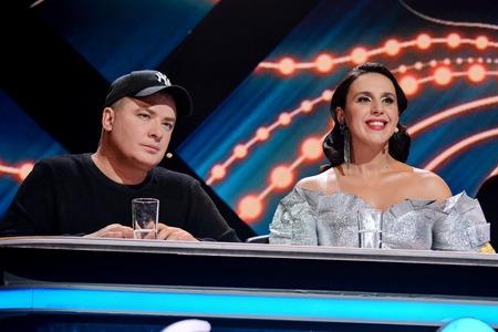 KYIV, UKRAINE - FEBRUARY 10, 2018: Jamala (L) and Andriy Danylko (R) - members of the jury of the national selection Eurovision-2018 from Ukraine