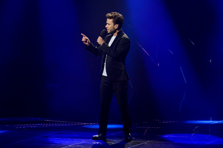 KYIV, UKRAINE - FEBRUARY 10, 2018: Singer LAUD member of the second semi-final of the national selection for Eurovision-2018