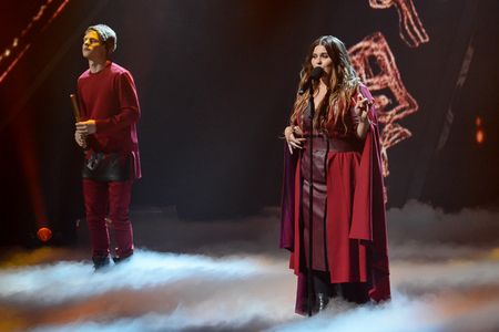 KYIV, UKRAINE - FEBRUARY 10, 2018: Singer KAZKA member of the second semi-final of the national selection for Eurovision-2018