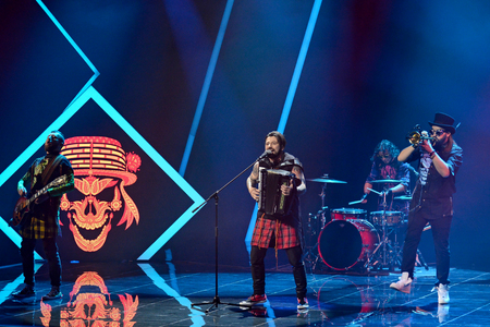 KYIV, UKRAINE - FEBRUARY 10, 2018: Band KOZAK SYSTEM member of the second semi-final of the national selection for Eurovision-2018