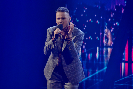 KYIV, UKRAINE - FEBRUARY 10, 2018: Singer CONSTANTINE member of the second semi-final of the national selection for Eurovision-2018 Editorial