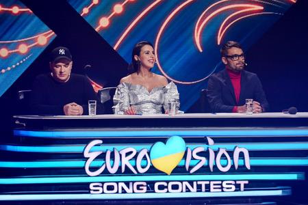 KYIV, UKRAINE - FEBRUARY 10, 2018: Jamala (C), Andriy Danylko (L), Eugene Filatov (R) - members of the jury of the national selection Eurovision-2018 from Ukraine Redakční