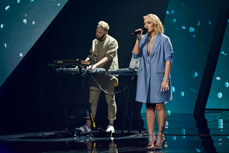 KYIV, UKRAINE - FEBRUARY 10, 2018: Singer The Erised member of the second semi-final of the national selection for Eurovision-2018