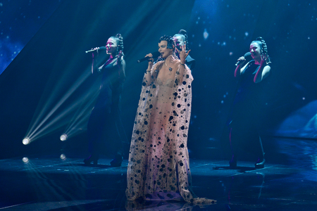 KYIV, UKRAINE - FEBRUARY 10, 2018: Singer Pur:Pur member of the second semi-final of the national selection for Eurovision-2018
