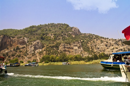 River Dalyan Lycian tombs in the area photo