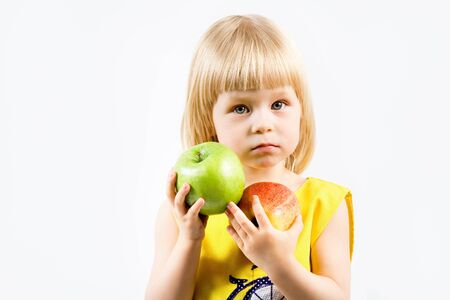 girl with apple in hand Stock Photo