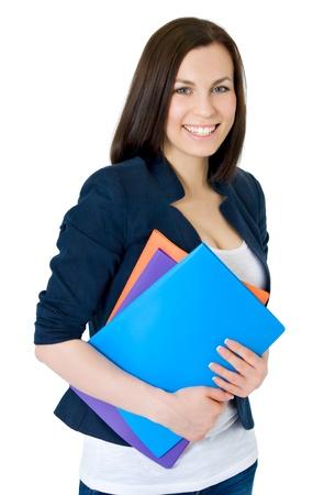 Happy succesvolle zakenvrouw geïsoleerd op witte achtergrond Stockfoto