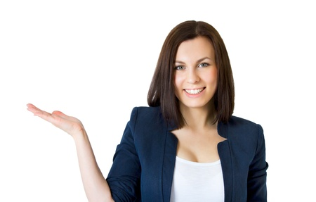 Happy successful business woman  Isolated over white background