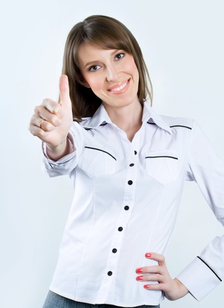 Successful business woman. Isolated over gray background Stock Photo