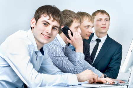 workgroup: Workgroup interacting in a natural work environment Stock Photo