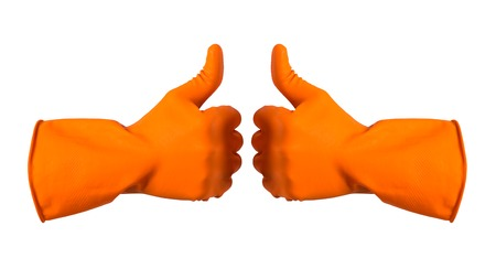 Orange gloves for cleaning on mens arm show thumbs up, isolated over white