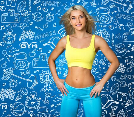 Sports girl on blue and draw background