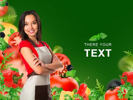 Cooking and food concept - smiling female chef, cook or baker with fork showing crossed arms sign over falling vegetables on green background