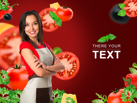 Cooking and food concept - smiling female chef, cook or baker with fork showing crossed arms sign over falling vegetables on red background