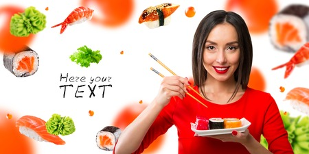 Black-haired girl eating sushi with a chopsticks, isolated on white Stock Photo